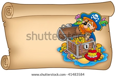 Old scroll with pirate and treasure - color illustration. - stock photo