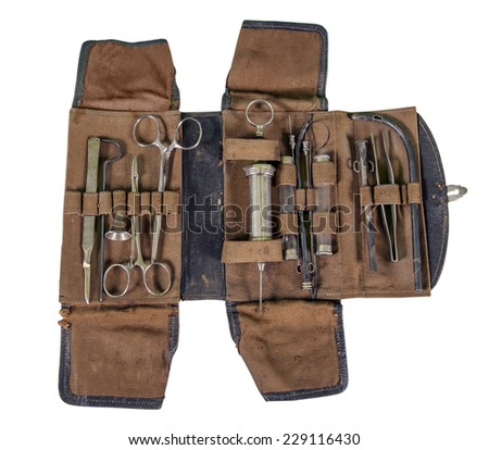 old set of medical instruments and military surgeon of the nineteenth century to work in the military field - stock photo