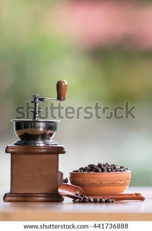 old set of vintage coffee grinder - stock photo