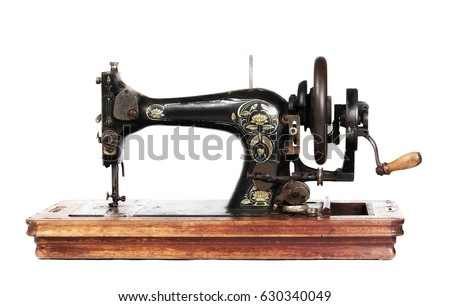 Old Sewing Machine Isolated On White Stock Photo Royalty Free Beauteous How To Use A Old Sewing Machine