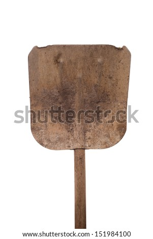 Old shabby trowel shovel on white background - stock photo