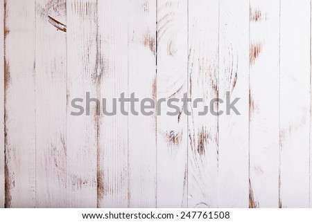 Old shabby white wooden wall for design - stock photo