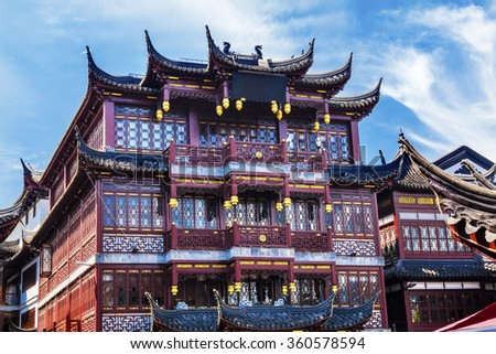 Old Shanghai Houses, Red Roofs, Yuyuan Old Town, Shanghai China - stock photo