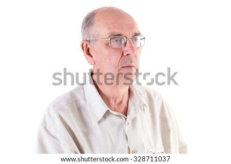 Old shaved man in glasses and cotton shirt. Side view. Isolated on a white background.