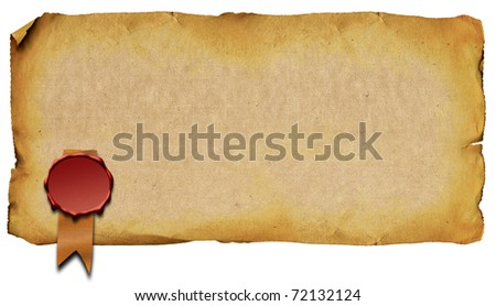 Old sheet of paper with the sealing wax press - stock photo