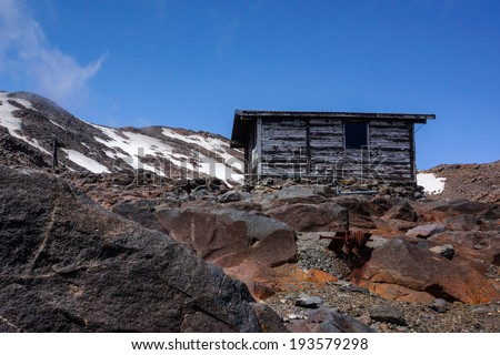 Old shelter on Mount Ruapehu,  North Island, New Zealand