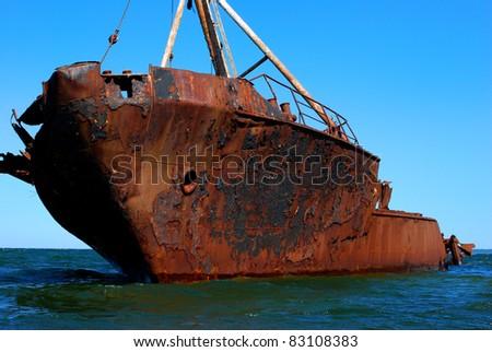 Old ship at sea - stock photo
