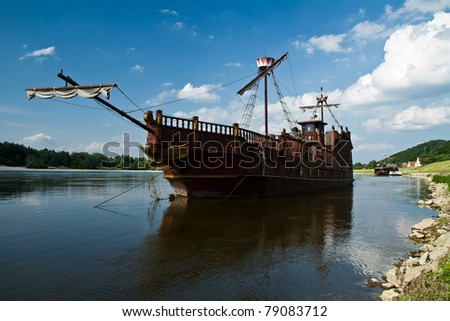 old ship in the harbor - stock photo