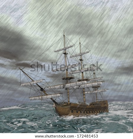 Old ship lost in the middle of a raining storm on ocean