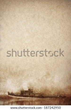 old ship on vintage paper - stock photo