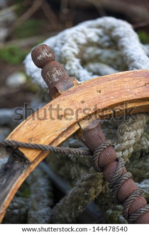 old ship's rudder - stock photo