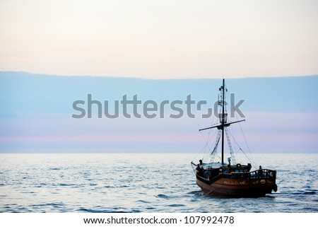 old ship sunset 1