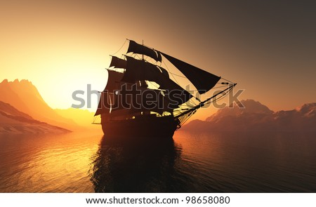 Old ship with sails in the mist. - stock photo