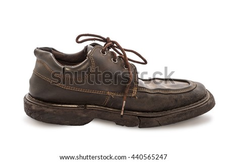 Old shoes - Still life a pair of brown leather shoes old and dirty with isolated on white background, Side view