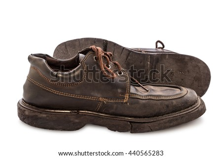 Old shoes - Still life pair of brown leather shoes old and dirty with isolated on white background, Side view