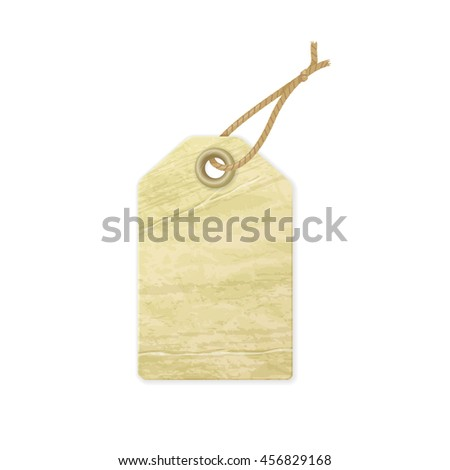 Old shopping tag. Illustration of empty label with grunge texture isolated on white. Raster version