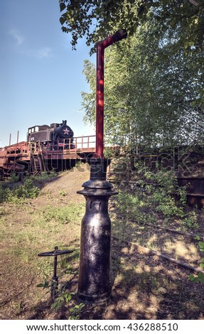 Old shunting locomotive on Mining and metallurgical plant