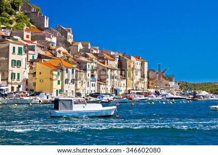 Old Sibenik historic waterfront view, Dalmatia, Croatia - stock photo