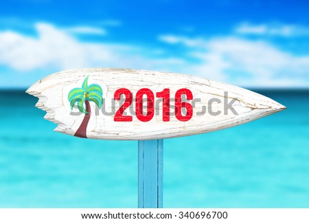 old sign on the beach - stock photo