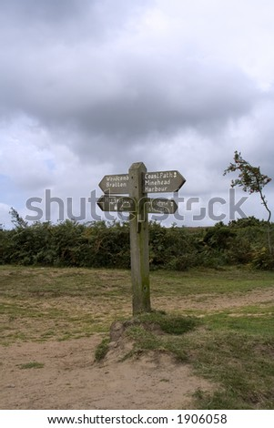Old sign post ta the top of Porlock Hill in Somerset