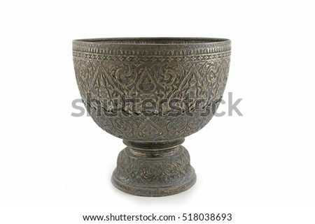Old silver bowl on white background