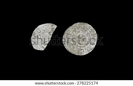 old silver coins Bruno II, Wilhelm and Johann George IV. Groschen - stock photo
