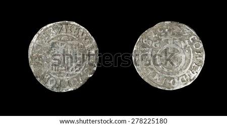old silver coins Bruno II, Wilhelm and Johann George IV.  Groschen 1613 - stock photo