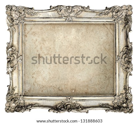 old silver frame with empty grunge canvas for your picture, photo, image. beautiful vintage background