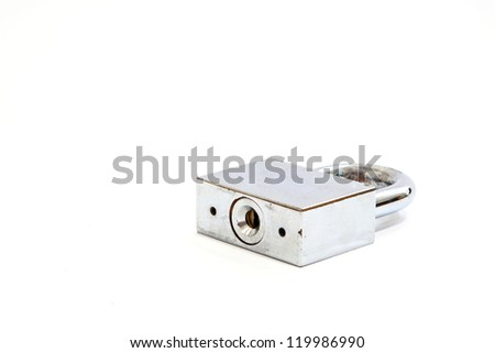 Old silver lock isolated on white background - stock photo