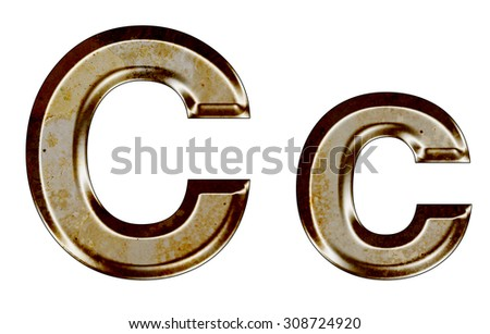 Old silver metal alphabet C,c on white background