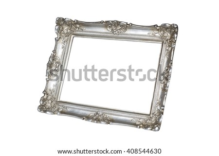 Old silver picture frame isolated on white background with clipping path. - stock photo