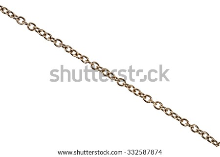 Old silver plated chain detail isolated on white - stock photo