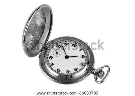Old silver pocket watch isolated on white - stock photo