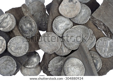 old silver roman money - stock photo