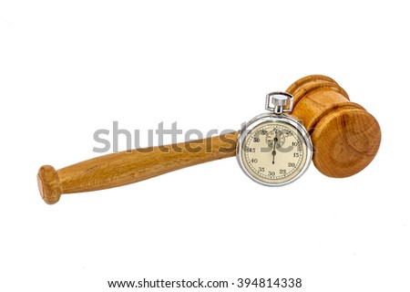 Old silver stopwatch and auction wooden gavel on the white background - stock photo