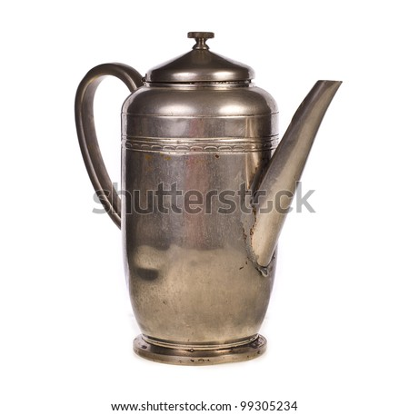 Old silver teapot isolated over white background - stock photo