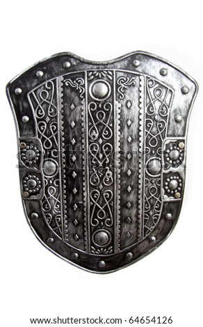 Old silver warrior shield isolated over white - stock photo
