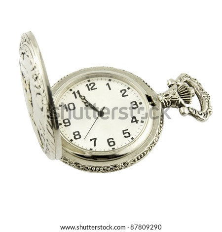 Old silver watch isolated on white - stock photo