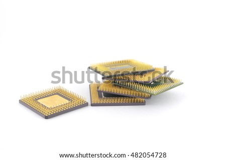 old six microprocessors over white. Concept technological. Shallow DOF.