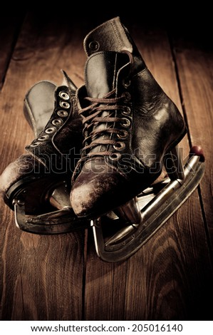 Old skates. Retouching in vintage style.