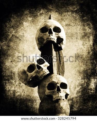 Old Skulls, Halloween Background - stock photo
