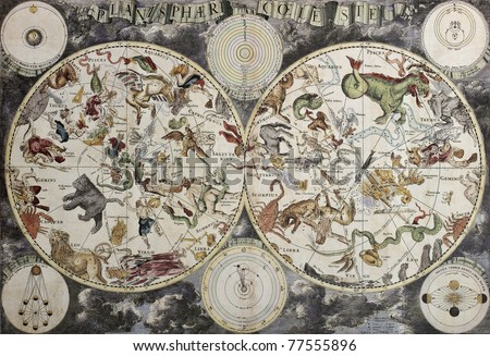 Old sky map depicting boreal and austral hemispheres with constellations and zodiac signs. Created by Frederick De Wit, Amsterdam 1680 - stock photo
