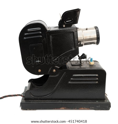 Old slide projector isolated on white - stock photo