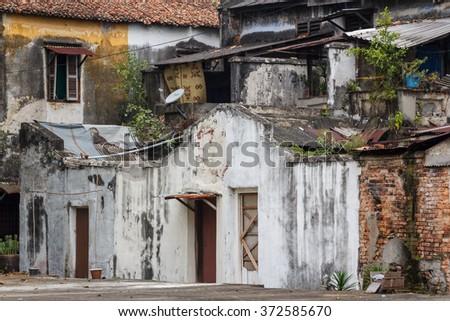 Old slum in Penang, Malaysia - stock photo