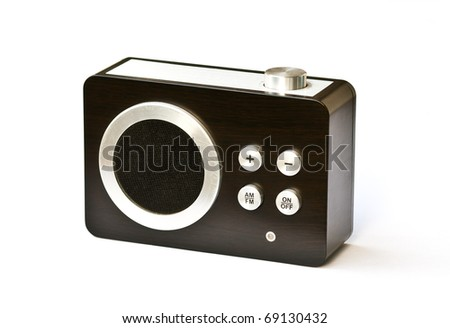 old small radio receiver isolated on white - stock photo