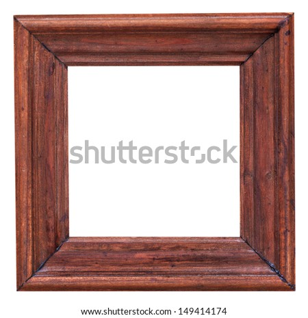 old small wide square picture frame with cutout canvas isolated on white background - stock photo
