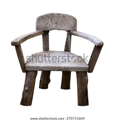 Old small wooden chair or stool isolated on white background - stock photo