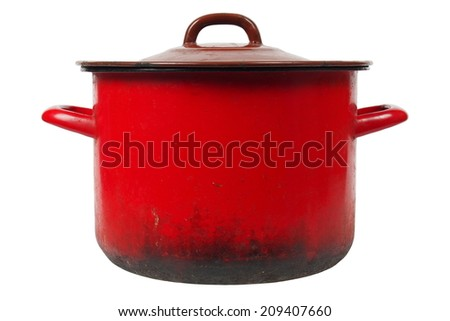 Old smoky kitchen pot isolated on white background - stock photo
