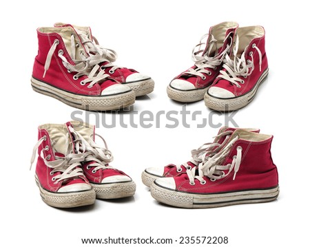 old sneaker shoes on white background - stock photo
