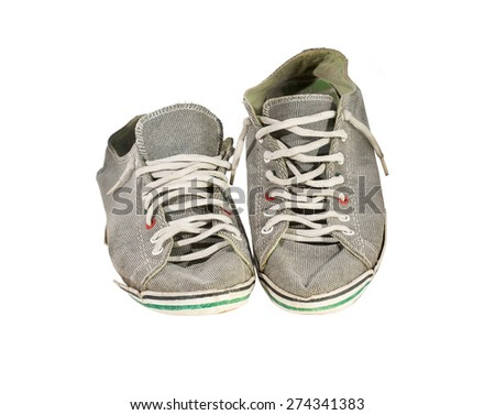 Old sneakers, on white background